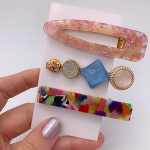 3 Acrylic Marble Clasp Clip Hair Pastel Barrette